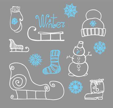 hand drawing Winter holiday Set