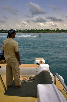 man catamaran