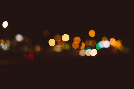 City lights and traffic headlight bokeh