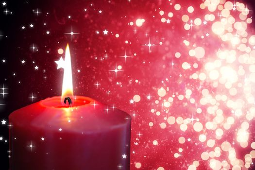 Composite image of red candle