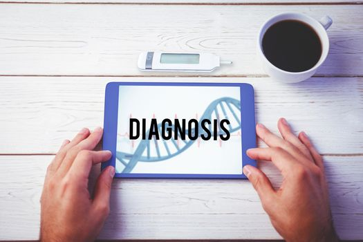 Diagnosis against blue medical background with dna and ecg
