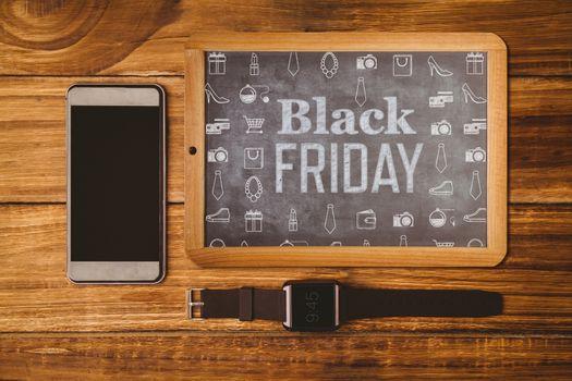 Black friday advert against hipsters desk