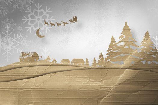 Composite image of christmas scene silhouette