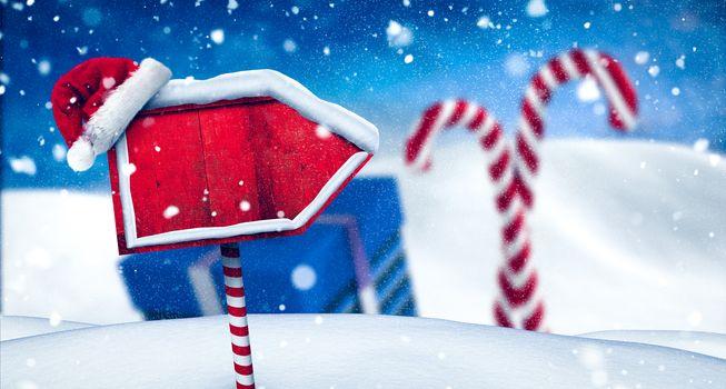 Santa sign in north pole