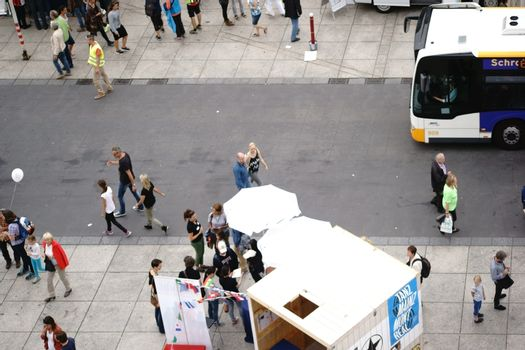Mainz, Germany - September 11, 2015: Group of people and visitors going and inform themselves at the stands of the Science Days on September 11, 2015 in Mainz.