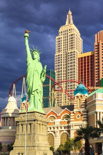 Las Vegas Nevada USA - JUN 9 2015: New York-New York Casino and Hotel architecture facade features many of the New York City icons in Las Vegas, About 40 million people visiting the city each year.