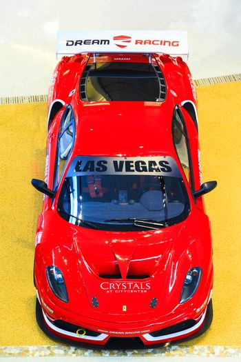 LAS VEGAS, USA - JULY 8 2015: Ferrari F430 GT from Dream racing at Crystall mall on July 8, 2015 in Las Vegas, USA. Dream Racing is a five-star racing and driving experience in Las Vegas.