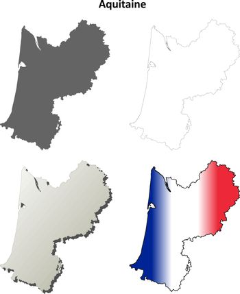 Aquitaine blank detailed outline map set