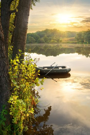 Inflatable boat on river