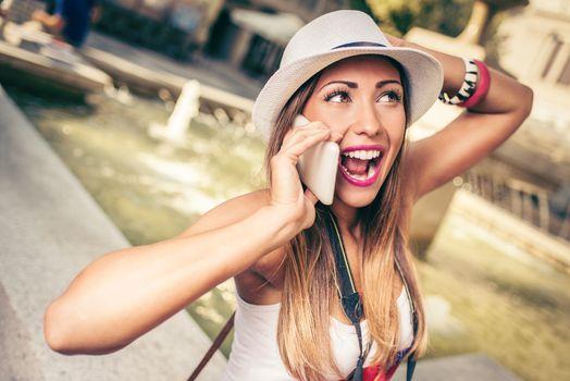 Pretty Woman Talking On A Cellphone