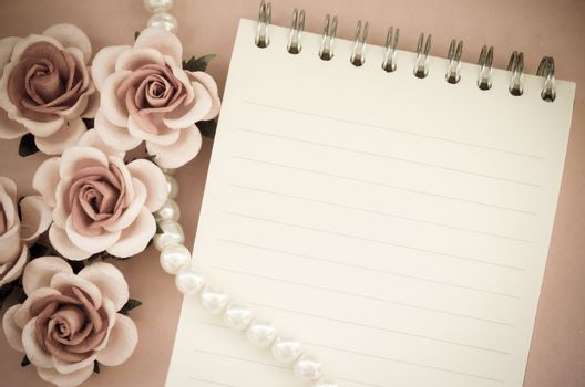 Blank note diary with rose vintage style.
