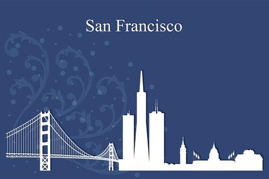 San Francisco city skyline silhouette on blue background