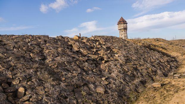 Stone railway embankment