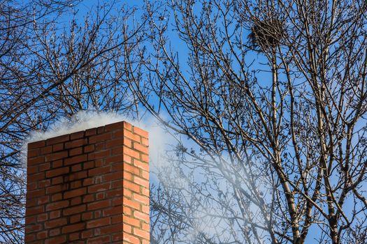 Chimney of brick