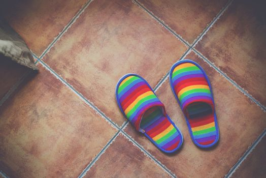 Retro toned rainbow color pattern slippers on the floor