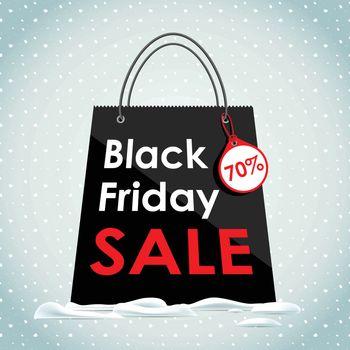 Vector illustration. Black Friday sales. Black bag in the snow. Sale of a black bag.