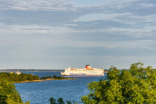 Stena Line ferry approaches the harbor in Karlskrona.  City has a daily ferry service to Gdynia, Poland transporting both goods and passengers.