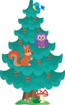 Coniferous tree theme image 2