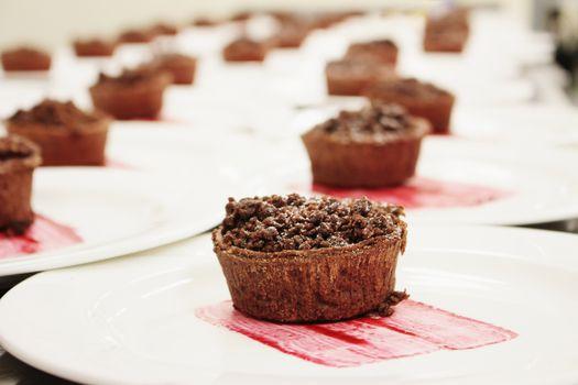 chocolate tarts awaiting service