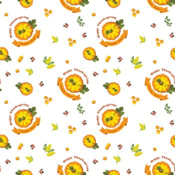 Vector. Thanksgiving seamless pattern with pumpkin on a white background. Autumn harvest.