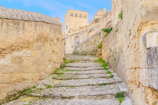 old stairs of stones, the historic building near Matera in Italy UNESCO European Capital of Culture 2019