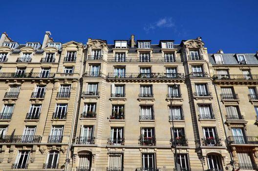 Exterior facade of apartment building