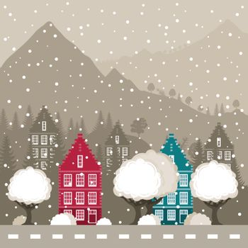 Winter city in mountains. A vector illustration