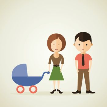 The daddy and mum with a children's carriage. A vector illustration