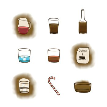 Set of icons on a coffee theme. A vector illustration