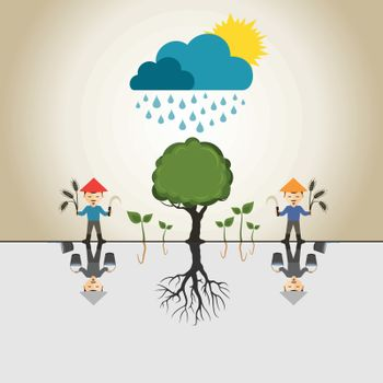 Rain the happy farmer. A vector illustration