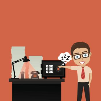 The person at office opens the safe. A vector illustration