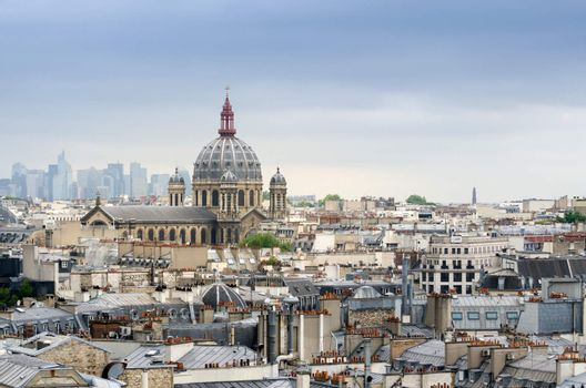 Saint-Augustin Church with La Defense in The Background