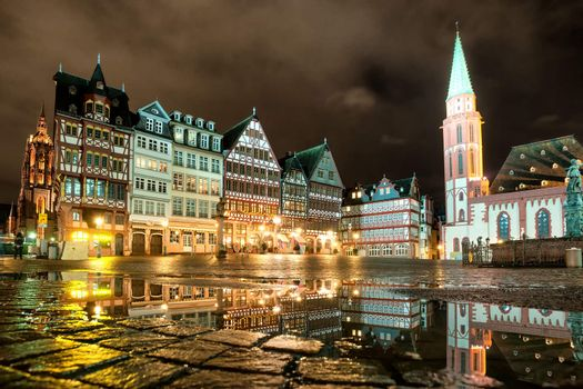 Old town of Frankfurt on Main at night, Germany