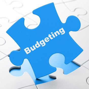Finance concept: Budgeting on puzzle background