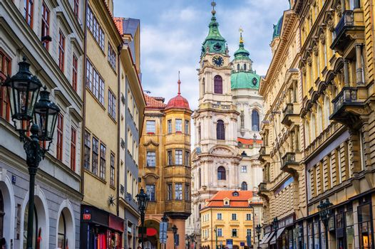 Historical baroque buildings in the center of Prague, Czech Repu