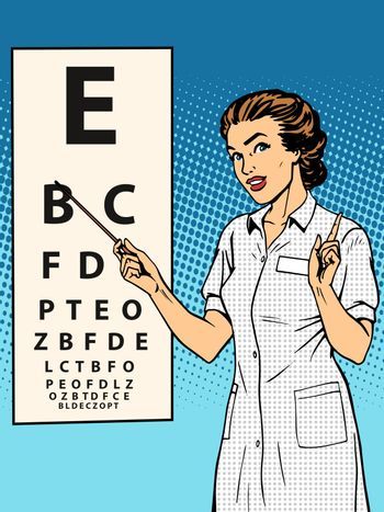 Woman ophthalmologist table verification of view
