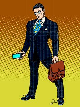Stern businessman with smartphone