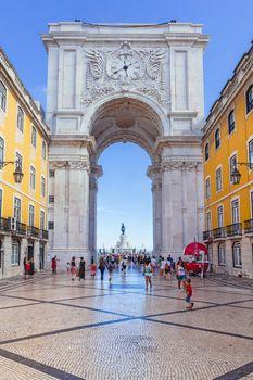 Looking through Rua Augusta Arch in Lisbon