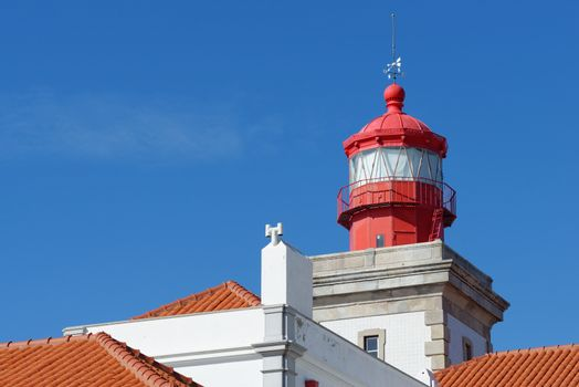 Lighthouse top in Cabo Da Roca, Portugal. . Cabo da Roca is the most westerly point of the Europe mainland