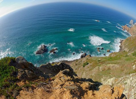 Fisheye view of rocky sea coast at Cabo Da Roca, Portugal