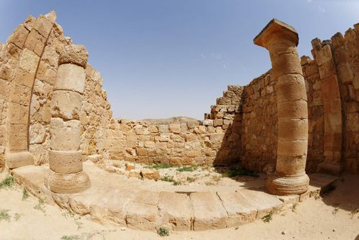 Fisheye view of ancient temple colonnade in Ovdat, Israel