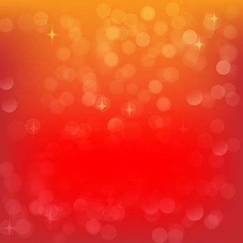 Red Christmas Abstract Background with Speckles and Light Golden Bokeh Effect