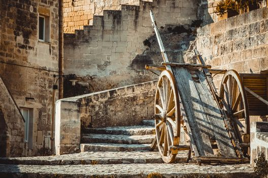 old historical wood wagon typical tool used in Matera in the past