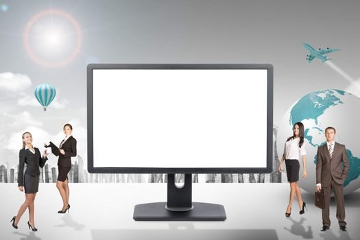 Buisnesspeople with blank screen monitor and city background