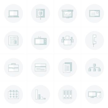 office icons set gray solo color