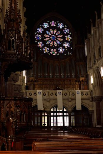 interior windows and seats of  St Colman's Cathedral in cobh county cork ireland