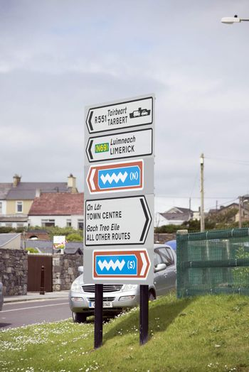 irish road signs in kerry ( car number plate has been altered )