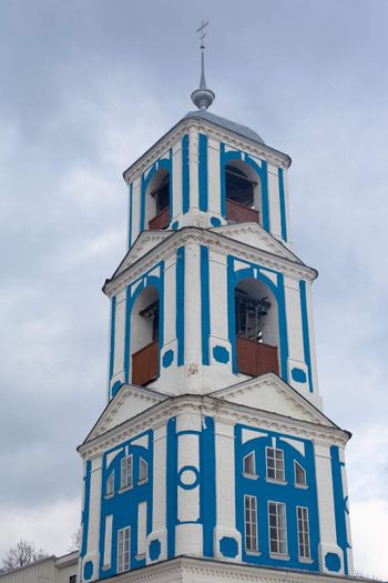 Blue russian orthodox bell tower