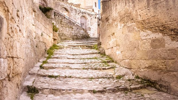 old stairs of stones, the historic building in Matera in Italy UNESCO European Capital of Culture 2019