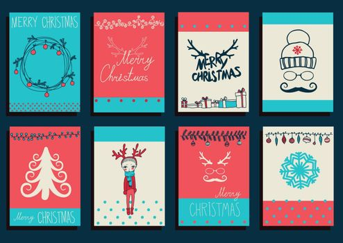 Vector Set Christmas Calligraphic Design Elements and Page Decoration, Vintage Frames